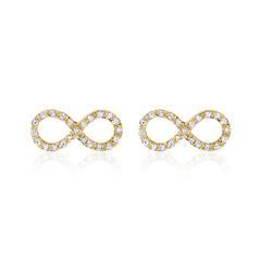 585er Gold Ohrstecker Infinity mit Brillanten
