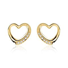 14ct Gold Stud Earrings Hearts with Diamonds