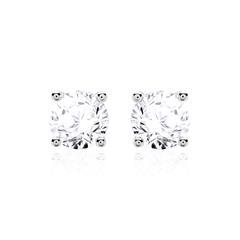 Diamantbesetzte Ohrstecker für Damen aus 14K Weißgold