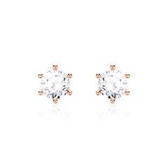 14K Roségold Ohrstecker für Damen mit Diamanten