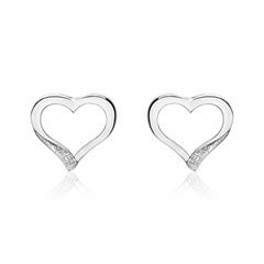 Ladies' Stud Earrings Hearts In 14K White Gold With Diamonds