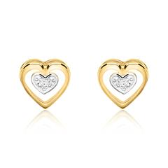Damen Ohrstecker Herzen aus 585er Gold mit Diamanten