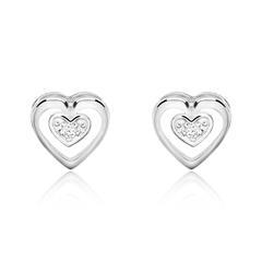 Herz Ohrstecker für Damen aus 14K Weißgold Diamanten