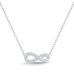 Necklace 14ct White Gold 8 Diamonds 0,024ct