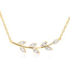 585er Goldkette im Blattdesign mit Diamanten