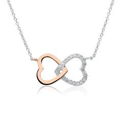 Kette Herzen aus 14K Weißgold mit Diamanten