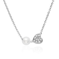 14K Weißgoldkette mit diamantbesetztem Herz und Perle