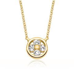 Halskette für Damen aus 14K Gold mit Weißtopasen
