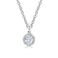 18K Weißgoldkette Anhänger mit Diamanten