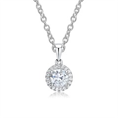 750er Weißgold Diamantkette mit Anhänger