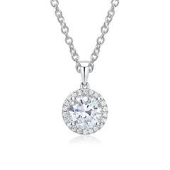 Diamantkette Halo Anhänger 18K Weißgold