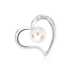 Herz-Anhänger Weißgold mit 2 Diamanten 0,016 ct.