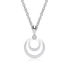 585er Weißgold-Kette Kreise Diamant