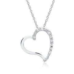 Weißgold-Kette Herz 13 Diamanten 0,09 ct.
