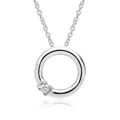 585er Weißgold-Kette Kreis Diamant 0,02 ct.