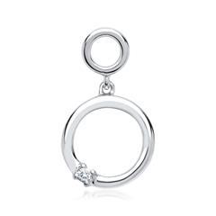 585er Weißgold-Anhänger Doppelkreis Diamant