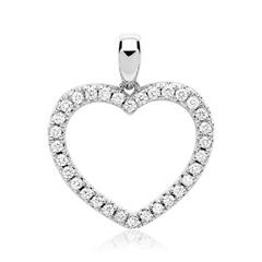 585er Weißgold-Anhänger Herz 32 Diamanten