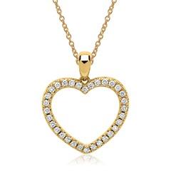 585er Gelbgold-Kette Herz 32 Diamanten
