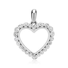 Weißgold-Anhänger Herz mit 24 Diamanten 0,17 ct.