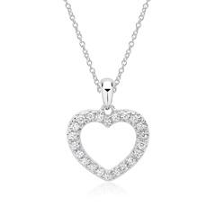 Weißgold-Kette Herz-Anhänger 22 Diamanten