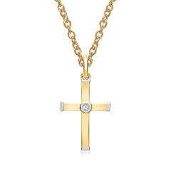 585er Gelb- Weißgold-Kette Diamant