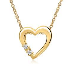 585er Gelbgold-Kette Herz 2 Diamanten