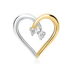 585er Gelbgold-Anhänger Herz 2 Diamanten