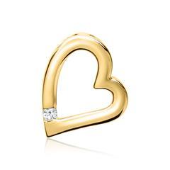 585er Gelbgold-Anhänger Herz Diamant 0,034 ct.