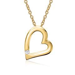 585er Gelbgold-Kette Herz Diamant 0,034 ct.