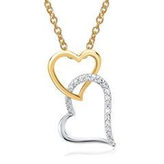 585er Gelb- Weißgold-Kette 12 Diamanten