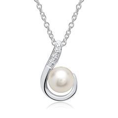 Kette 585er Weißgold runder Perle