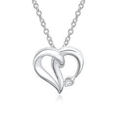 585er Weißgold-Kette Herz Diamant