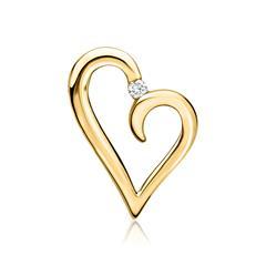 585er Gelbgold-Anhänger Herz Diamant 0,037 ct.