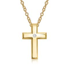 585er Gelbgoldkette Kreuz Diamant 0,02 ct.
