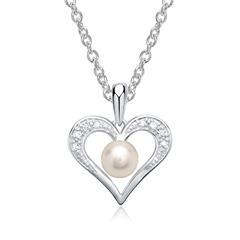 585er Weißgold-Kette Perle 8 Diamanten