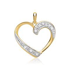 585er Gelbgold-Anhänger Herz 7 Diamanten