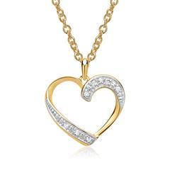 585er Gelbgold-Kette Herz 7 Diamanten