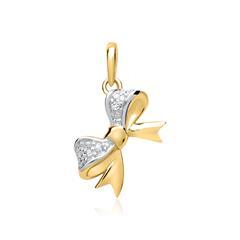 585er Gelbgold-Anhänger Schleife Diamant