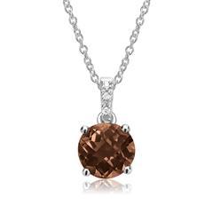 Rauchquarz Kette 585er Weißgold 3 Diamanten