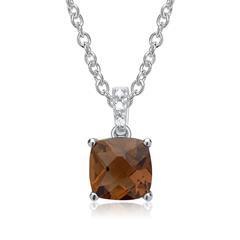 585er Weißgold Kette Rauchquarz 3 Diamanten