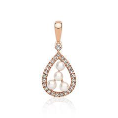 Diamant Anhänger Perle 585er Gold 0,34 ct.