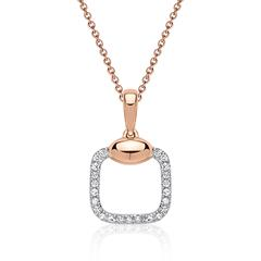 585er Gold Collier mit Diamanten 0,062 ct. in roségold