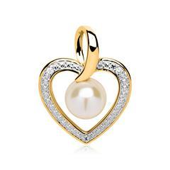 Herz Anhänger 585er Gold bicolor Perle Diamanten