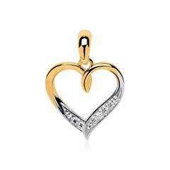 585er Gold Anhänger Herz mit Diamant