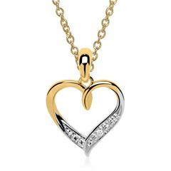 Nett: 585er Gold Kette Anhänger Herz Diamant