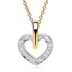 Kette Herz Anhänger 14k Gold Diamanten