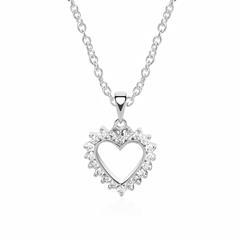 585er Weißgold Herzkette 20 Diamanten