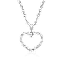 Herzkette 14K Weißgold 16 Diamanten