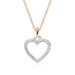 Necklace Heart For Ladies In 14 K Rose Gold, Diamonds