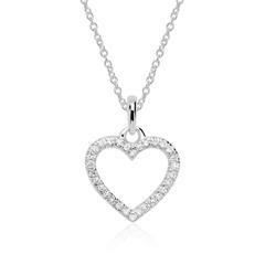 Diamantkette Herz aus 585er Weißgold
